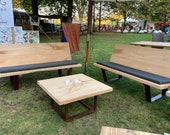 Bench Lounge for the garden made of oak and steel quality from the Lower Rhine