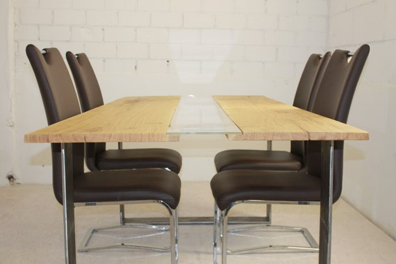 Dining Table Diningtable Made Of Oak Glass And Steel Quality Etsy