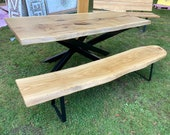 Dining table dining table made of oak and steel cross frame quality from the Lower Rhine