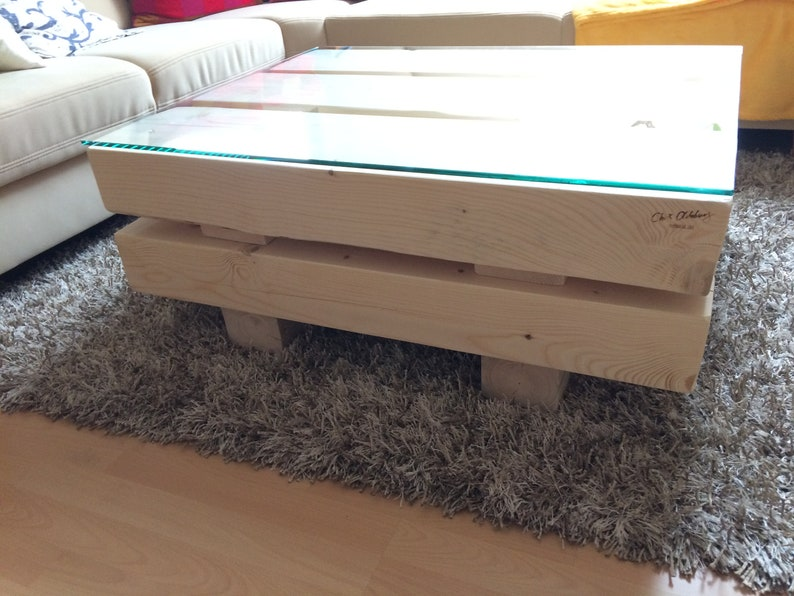 Coffee table made of spruce solid wood beams cracked image 0