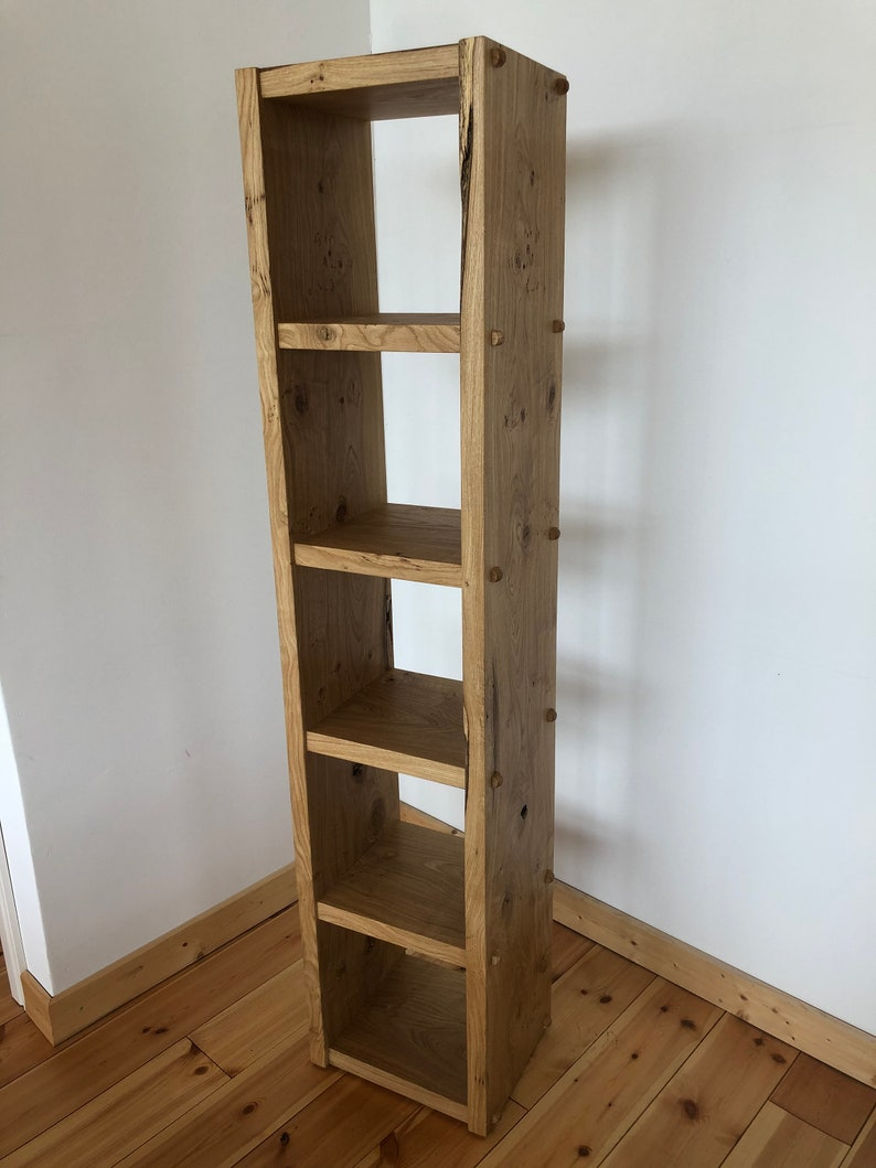 Natural style shelf made of solid oak 2 m high image 0