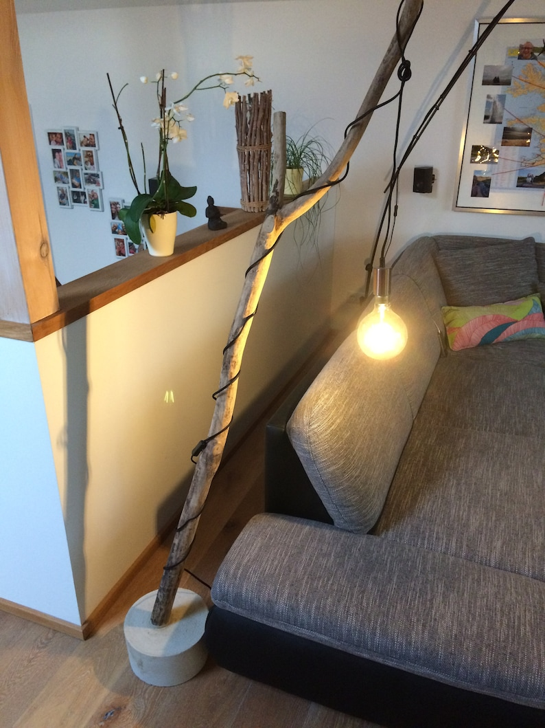 Floor lamp made of concrete and driftwood in different image 0