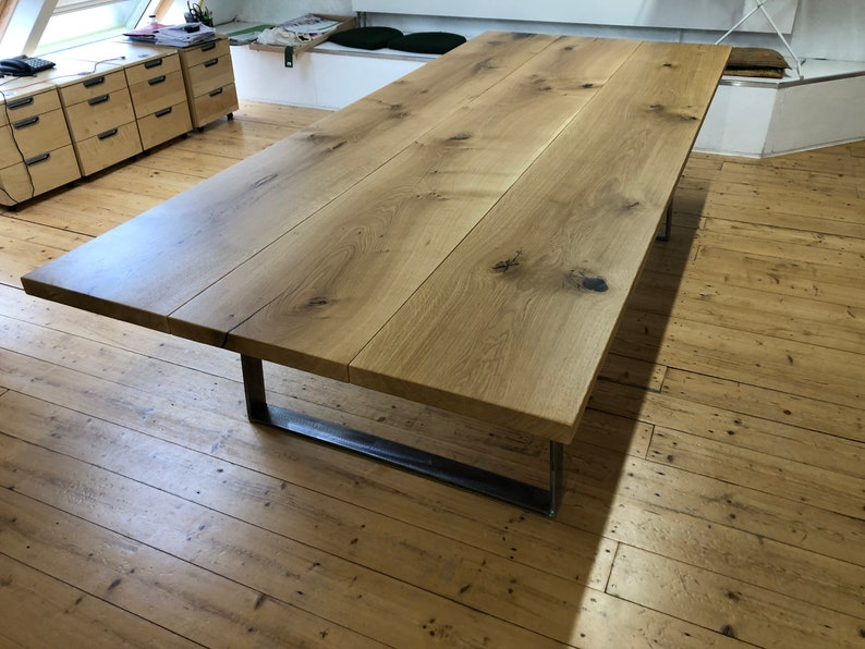 Conference table dining table Diningtable in oak and steel image 0