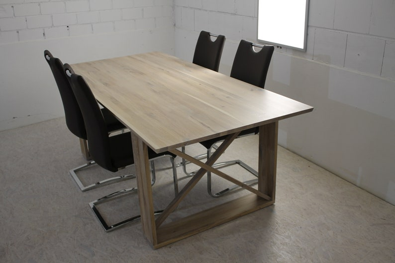 Dining table made of solid oak wood white oiled available in image 1