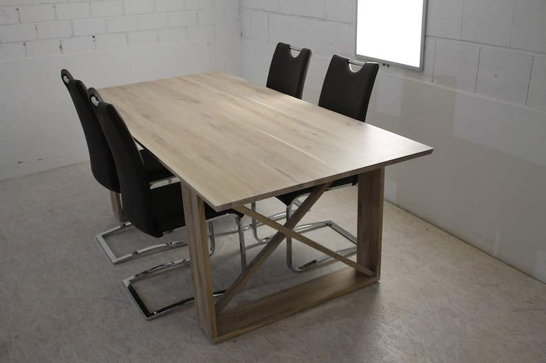 Dining table made of solid wood solid wood white oiled in image 0