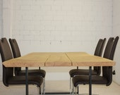 Dining table dining table made of oak and steel quality from the Lower Rhine