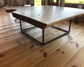 Coffee table made of solid oak wood from a very wide screed