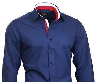 Shirt BINDER de LUXE men's shirt men dress shirt long sleeve blue #82707