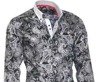 BINDER de LUXE Designer Shirt Men's Shirt men dress Shirt Black White #83002