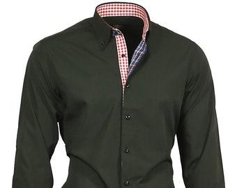 Men's shirt men's shirt black long sleeve men dress shirt Binder de Luxe #82303