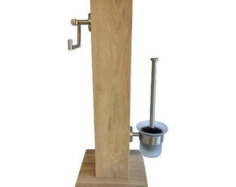 WC set oak solid 1 column incl. plate 65 cm untreated oak wood with stainless steel holder and toilet brush