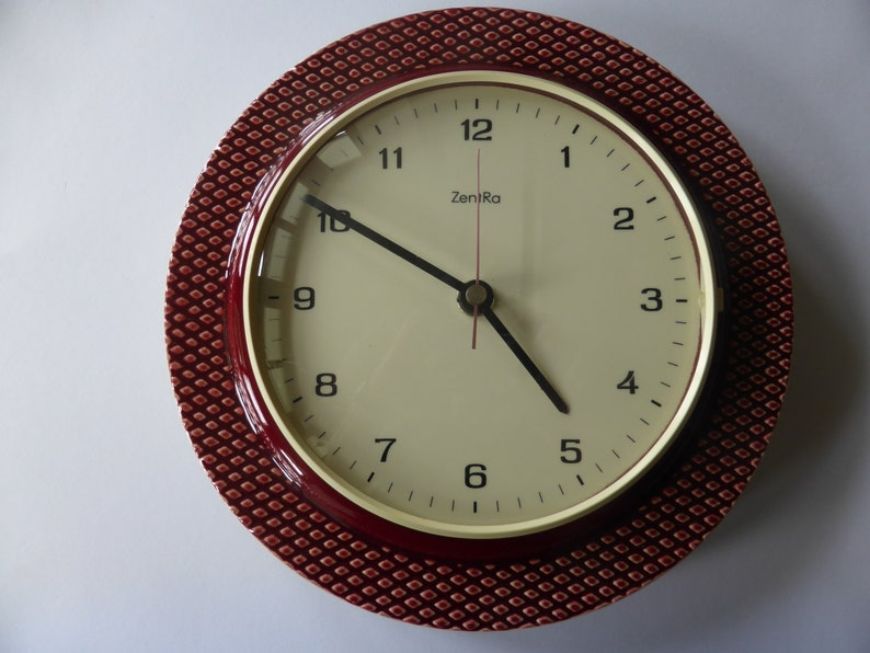 Phenomenal Vintage Clock By Zentra Wall Clock Kitchen Clock 60S 70S Home Interior And Landscaping Synyenasavecom