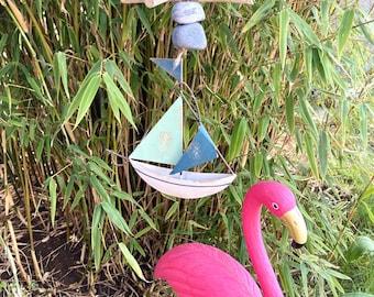 Garland driftwood sailboat, garden decoration, wind chime maritim