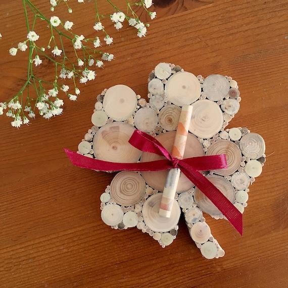 Geldgeschenk Geburtstag Hochzeit Viel Glück Kleeblatt Geld Verschenken Holzdeko Treibholz Muttertag Geburtstagsgeschenk Frau