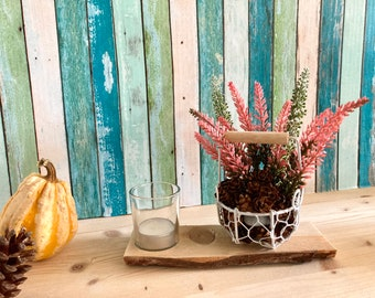 Wire basket and lantern, autumn decoration, heather, upcycling