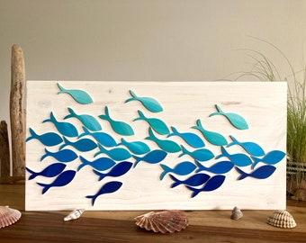 Fish swarm wooden image, maritime decoration, fish