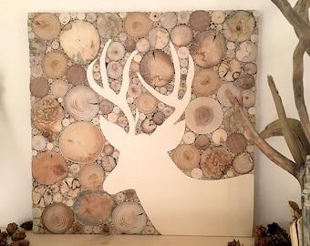 Deer mural wood, deer head picture, wood picture living room, wood decoration driftwood trend