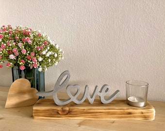 LOVE Windlight Gift Mother's Day, Wood Decoration