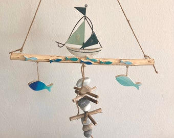 Window decoration sailboat, wooden branch, autumn decoration