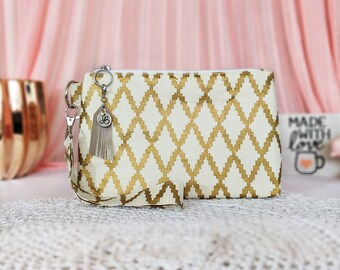 176dd86b5b13 Gold Aztec Print - Metallic Gold Accessory - Gold Hand bag - Gold Print  Pouch - Small Travel Bag - Gold Aztec Purse - Bridesmaid gifts
