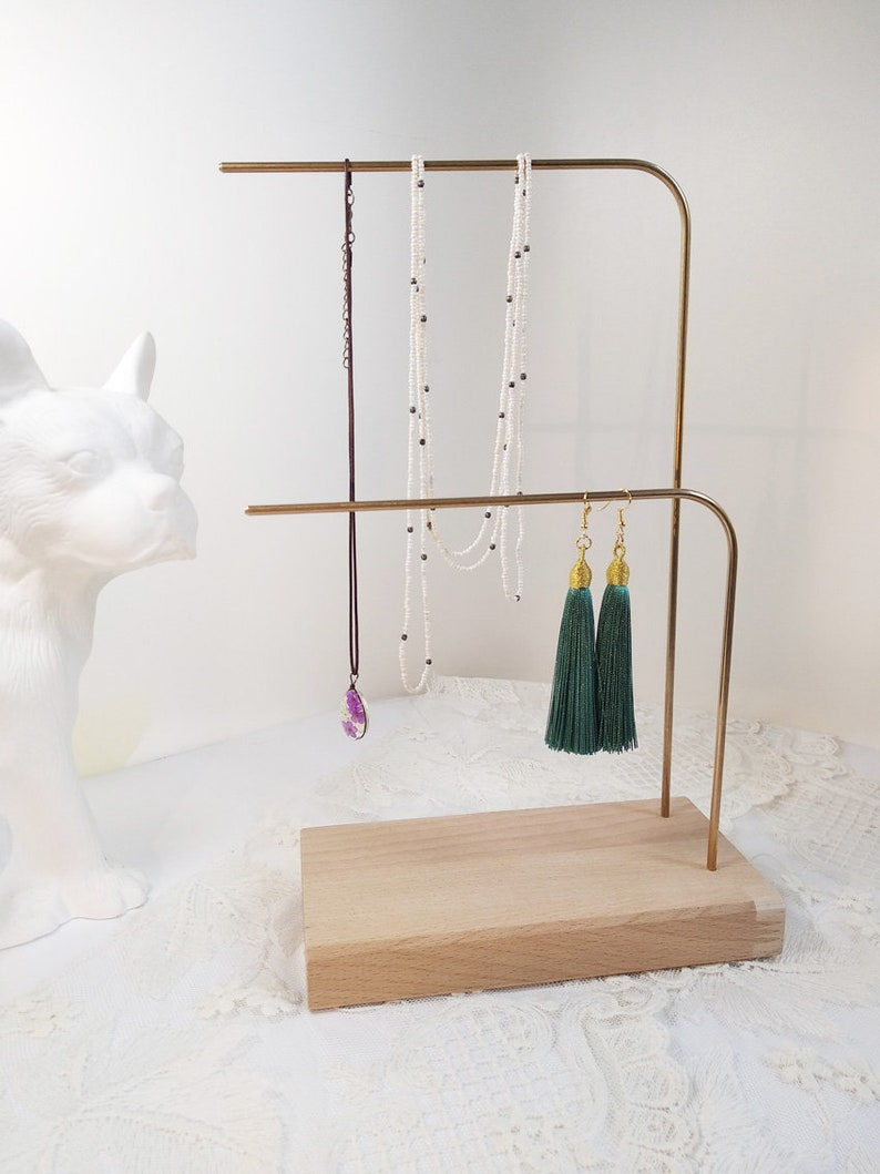Jewellery Stand Minimalist Jewelry Display Organizizer Jewelry Storage Jewelry Display In Wood Brass Exclusive For Women