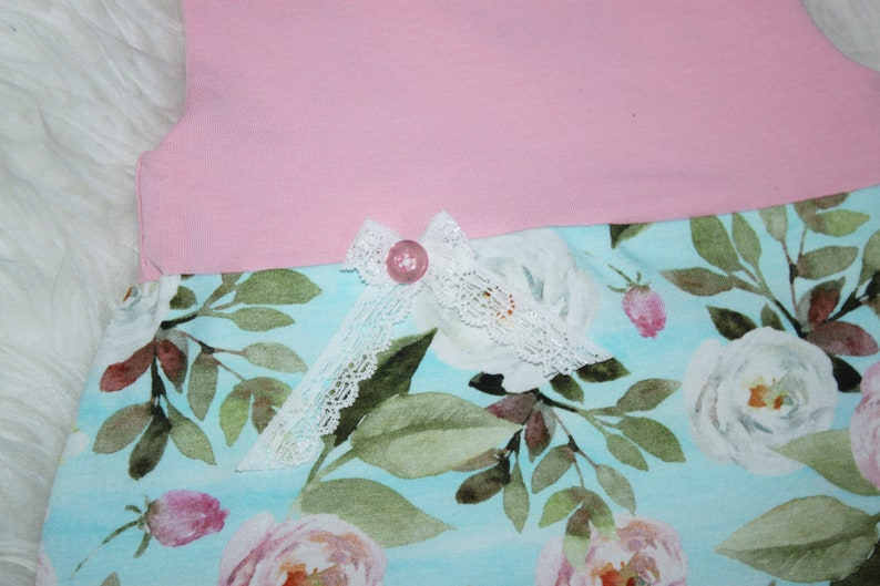 Baby Jersey romper girl white pink roses on light blue-mine with loop in desired size
