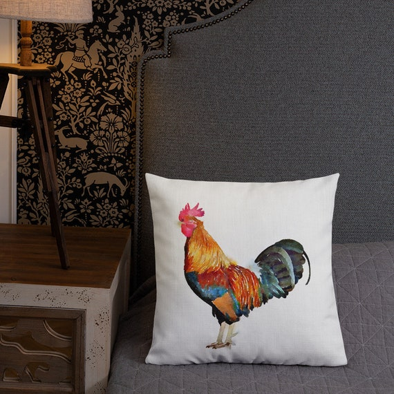 US Seller-sofa pillow covers watercolor rooster cushion cover