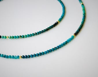 Delicate Chrysocolla Collier 925 gold plated