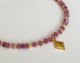 Pink tourmaline chain 925 sterling silver plated