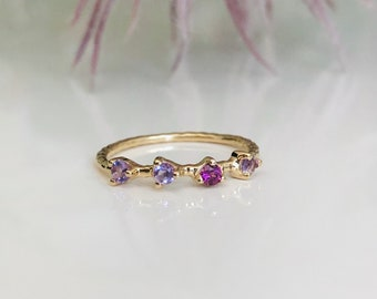 Enchanting delicate ring with amethyst and rhodolite 925 sterling silver gold plated