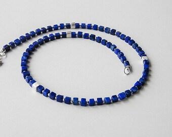 Lapis lazuli cube chain 925 silver