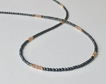 Hematite Necklace with moonstone 925 gold plated