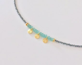 Hematite Chain & Blue Jade Chain 925 Gold Plated