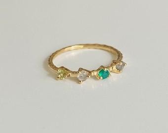 Multi Edelstein Ring 925 Sterling Silber vergoldet