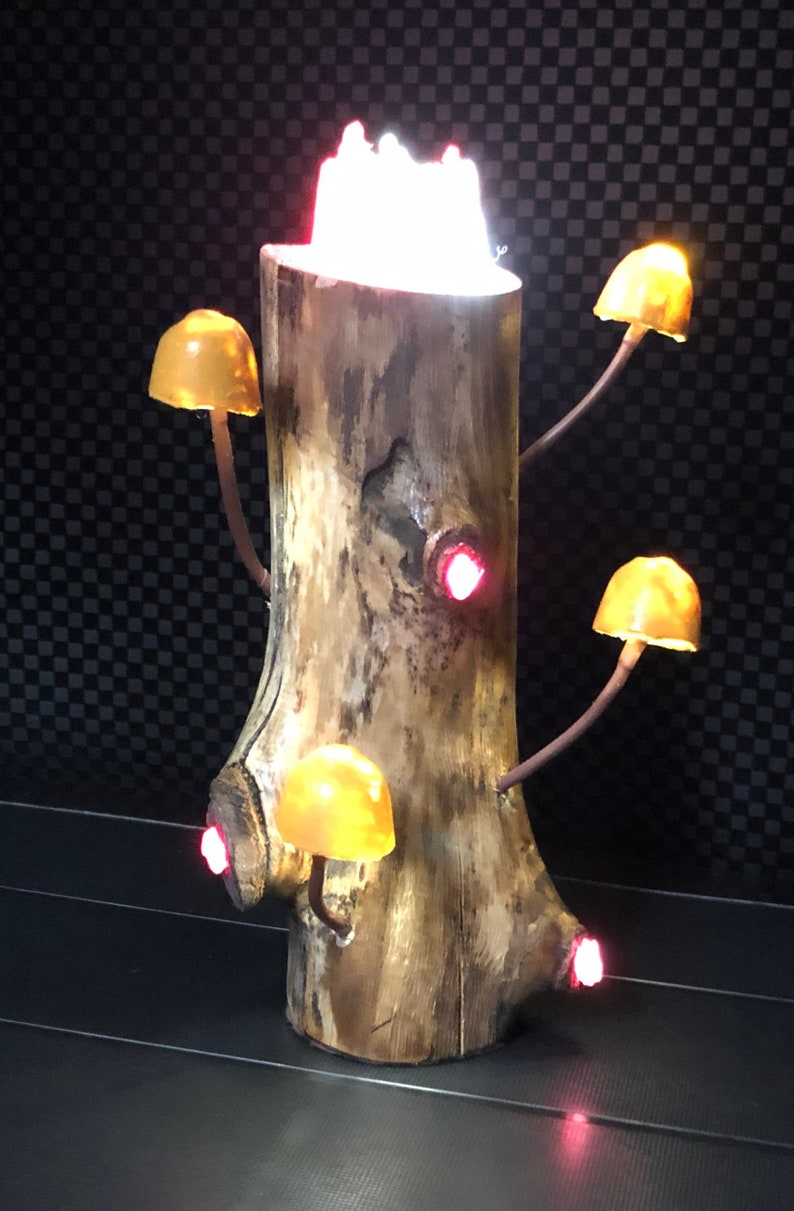 LED Mushroom Driftwood Lamp #037 Caramel Caps /& a Horseshoe Quartz Tower