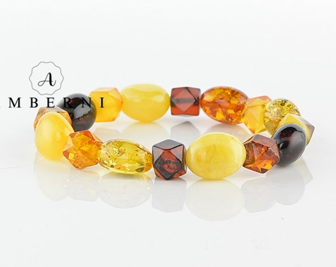 Natural Multicolor Amber Bracelet - Baltic Amber