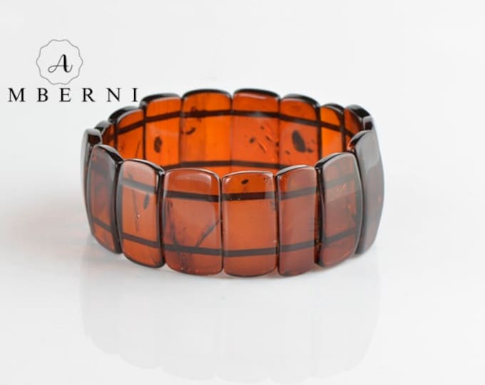 Original Baltic Amber Bracelet with Cherry Color Beads