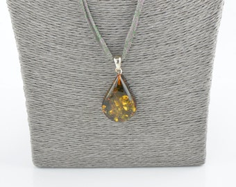 Baltic amber pendant with sterling silver, Natural amber, Baltic amber piece, 7795