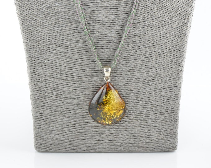 Amber pendant with sterling, Amber pendant, Baltic amber pendant, 0422