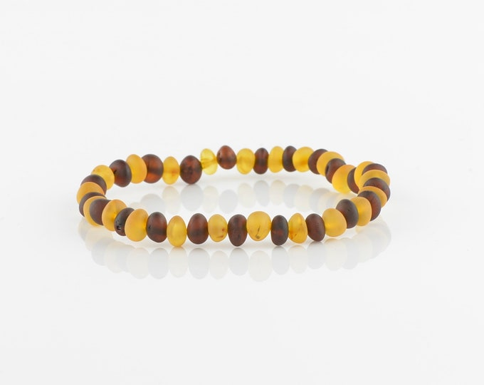 Mix color amber bracelet, Baltic amber bracelet, Raw amber bracelet, 6197