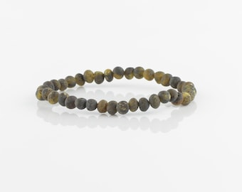 Raw Baltic amber bracelet for girls, Natural amber beads, Raw amber, 6165