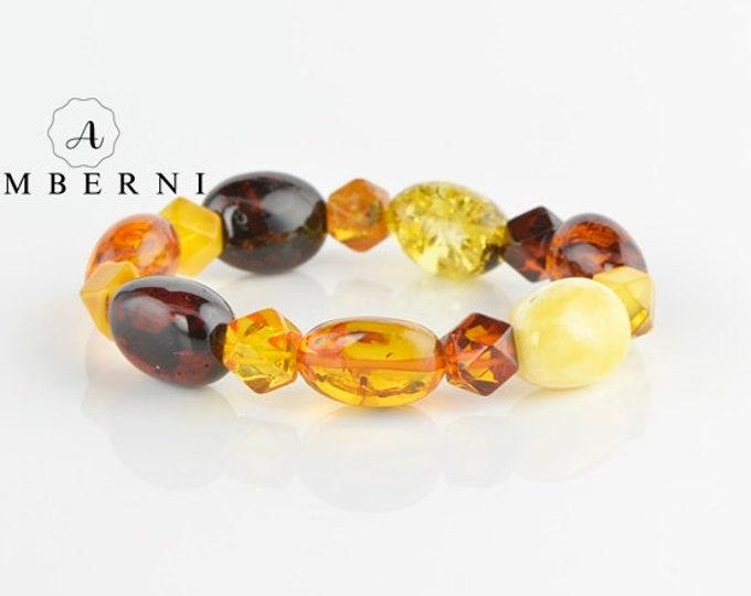 Natural Multicolor Amber Bracelet - Baltic Amber