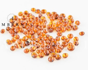Baltic Amber Beads, Cognac Amber, Polished Beads, 4-6 mm, 80-90 pieces