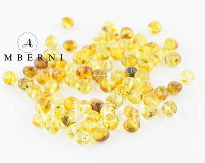 Baltic Amber Beads, Green Yellow Amber, 4-6 mm, 80-90 pieces