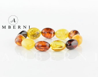 Multicolor Baltic Amber Bracelet with Olive Beads