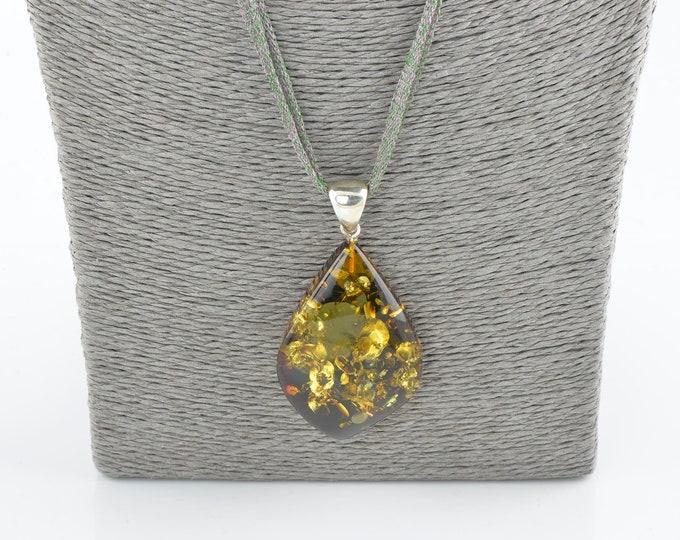 Large amber pendant, Baltic amber pendant, Sterling pendant, Amber jewelry, 1187