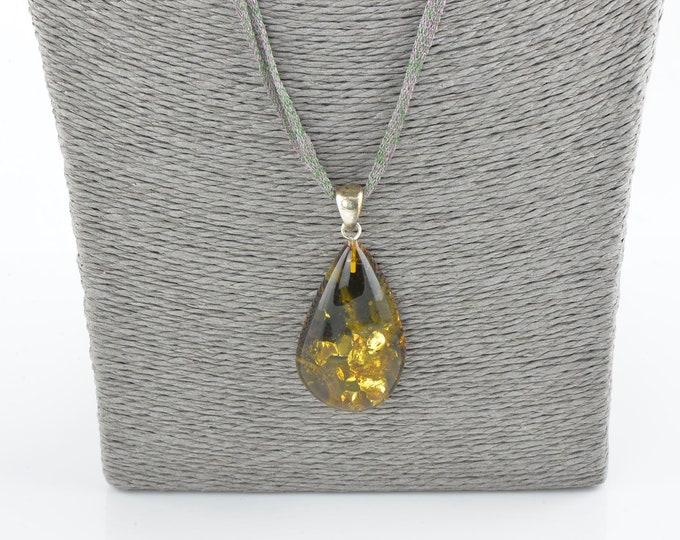 Baltic amber pendant, Amber pendant, Sterling amber pendant, Genuine amber, 1162