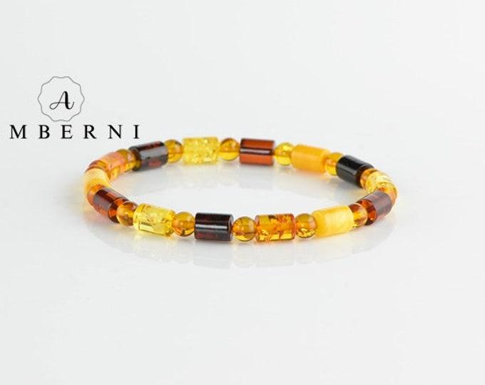 Round Tube Amber Beads Bracelet
