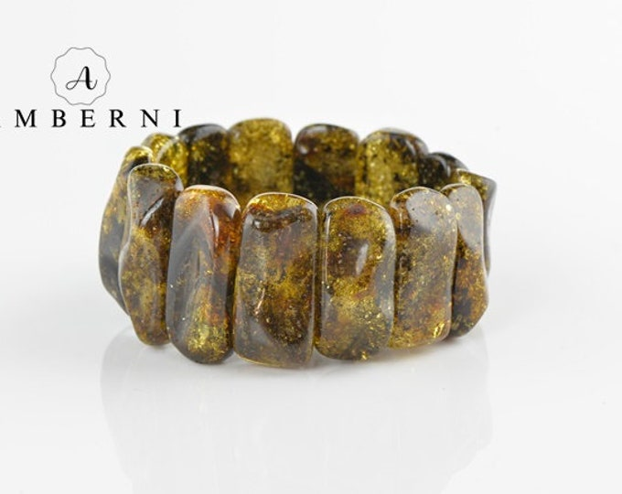 Baltic Amber Bracelet Green Color Beads