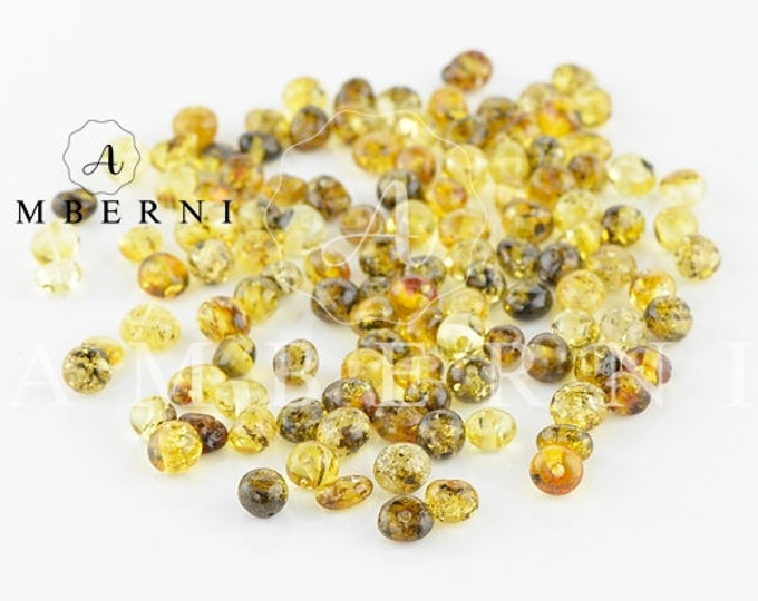 Baltic Amber Beads, Green Amber, Natural Beads, 4-6 mm, 80-90 pieces